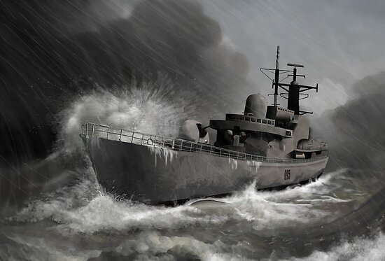 Battleship braving the storm by aaronnaps