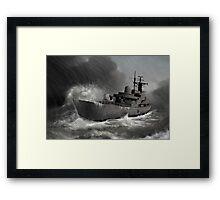 Battleship braving the storm Framed Print