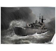 Battleship braving the storm Poster
