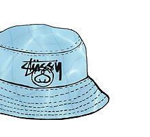 Aqua Grunge Stussy Bucket Hat by sillyspoons