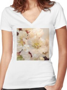 Beautiful blossoms on white Women's Fitted V-Neck T-Shirt