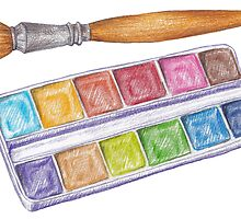 palette with brush by lisenok
