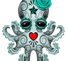 Blue Day of the Dead Sugar Skull Baby Octopus by Jeff Bartels