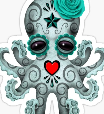 Blue Day of the Dead Sugar Skull Baby Octopus Sticker