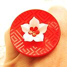 White Red Flower Ring by souzoucreations