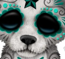 Blue Day of the Dead Sugar Skull Wolf Cub Sticker