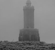 misty weather over darwen tower by michaelwallwork