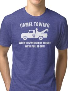 Camel Towing Funny T Shirt Adult Humor Rude Gift Tee Shirt Tow Truck Unisex Tee Tri-blend T-Shirt