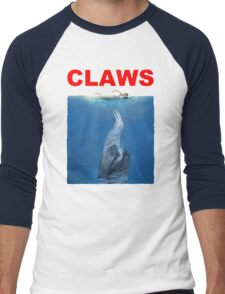 Claws Jaws Spoof parody Cute Sloth Hipster Premium Quality Men's Baseball ¾ T-Shirt