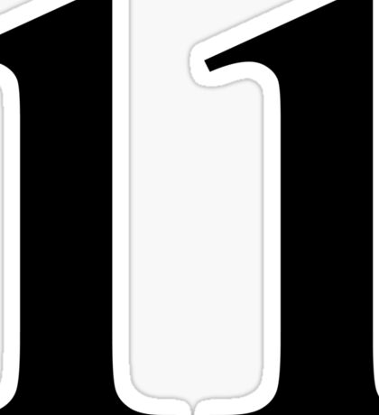 Number 11 in Black Times New Roman Serif Font Typeface Sticker Sticker