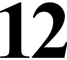 Number 12 in Black Times New Roman Serif Font Typeface by ukedward