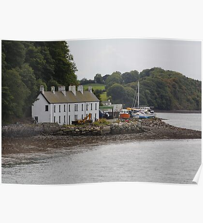 Fishermens Cottages by the Irish Sea at Bangor North Wales Poster