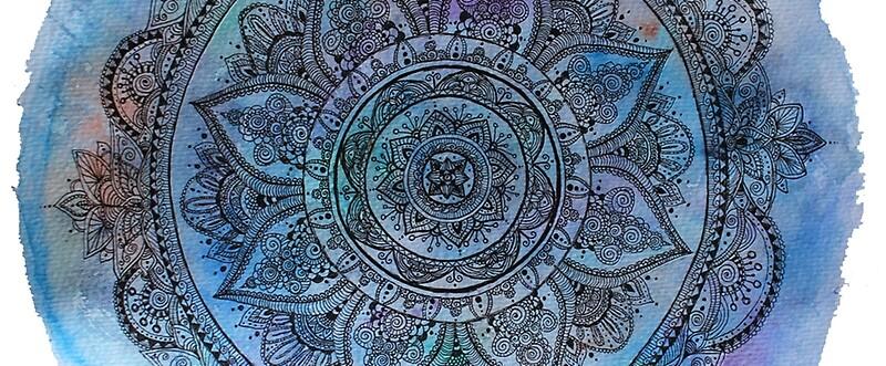 Blue Mandala Transparent Background Mugs By Meghan Dal