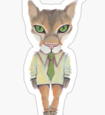 Funny lynx in a suit and tie. Hipster lynx. Lynx boss. Sticker