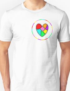 colourful patchwork heart T-Shirt