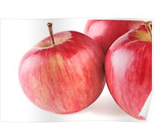 three ripe red apple on white background Poster