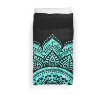 Black and Teal mandala  Duvet Cover