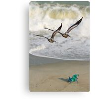 Pelican Pair with Surf and Beach Chair Canvas Print