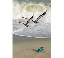 Pelican Pair with Surf and Beach Chair Photographic Print