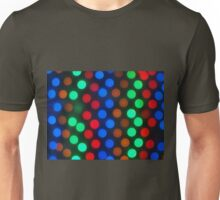 Defocused colored lights fill the entire frame Unisex T-Shirt