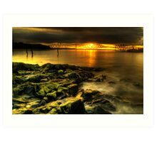 Rocky view towards the Forth Bridges Art Print