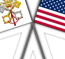 Papal flag with American flag Sticker