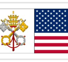 Papal flag with American flag 2 Sticker