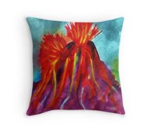 Valcano in full eruption, watercolor Throw Pillow