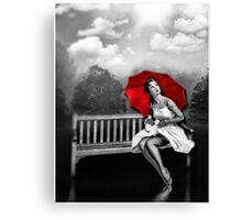 Rain on my red Umbrella Canvas Print