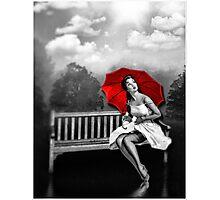 Rain on my red Umbrella Photographic Print