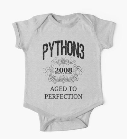 Black on Grey Vintage Design for Python 3 Advocates One Piece - Short Sleeve