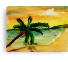 Serene Beach, watercolor Canvas Print