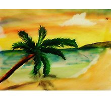 Serene Beach, watercolor Photographic Print