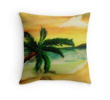 Serene Beach, watercolor Throw Pillow