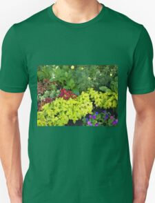 Top view of multicolored and colorful flower bed T-Shirt