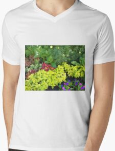 Top view of multicolored and colorful flower bed Mens V-Neck T-Shirt