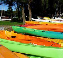 Canoes Ready to Go - Rose Bay, Sydney, Australia by Angela Gannicott