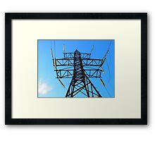 Bottom view of the high-voltage metal tower Framed Print