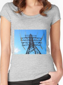 Bottom view of the high-voltage metal tower Women's Fitted Scoop T-Shirt