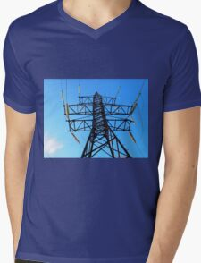 Bottom view of the high-voltage metal tower Mens V-Neck T-Shirt