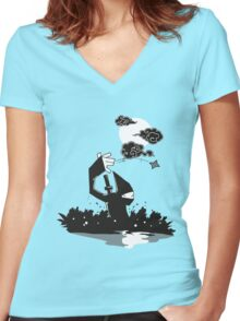 Surprise Ninja Attack on a Moonlit Night Women's Fitted V-Neck T-Shirt