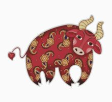 Red Decorative Bull Kids Clothes