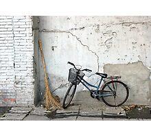 Broom and Bike Photographic Print