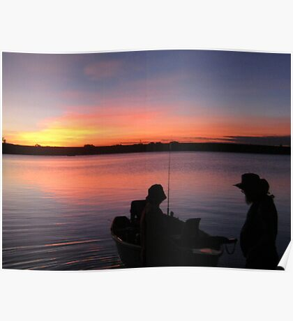 Boat Fishin' at Sunset Poster
