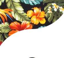 Ying Yang Symbol (Hawaiian Flowers) Sticker