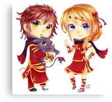 Chibi Hiccup and Astrid Canvas Print