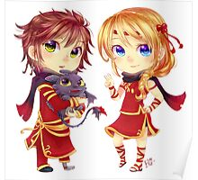 Chibi Hiccup and Astrid Poster