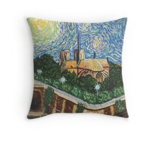 Notre Dame Cathedral after Van Gogh Throw Pillow