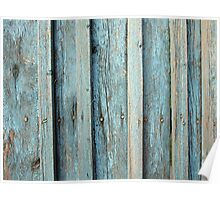 Fragment of an old wooden fence made of boards Poster