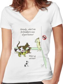 Dog No Sniffing Women's Fitted V-Neck T-Shirt